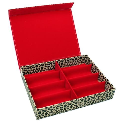 "#TR-1608BC-LD Leopard Pattern Eyewear Tray 8 Frames, 12 3/4"" X 9 3/4"" X 2 1/4""H 