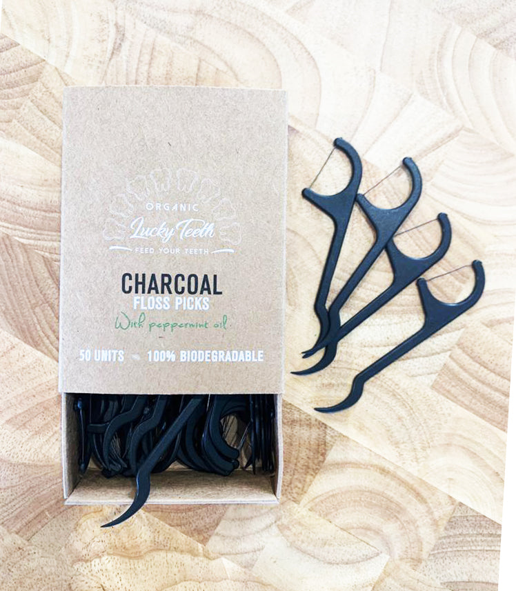 Natural Charcoal Floss Picks