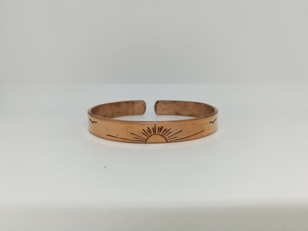 Copper sun and birds bracelet