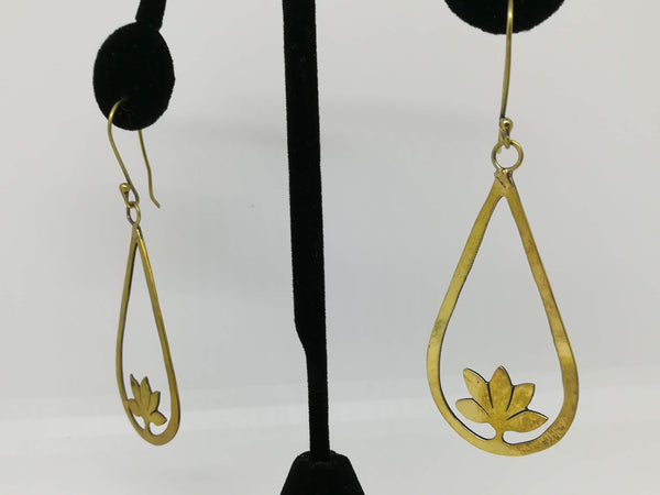 Teardrop with lotus earring