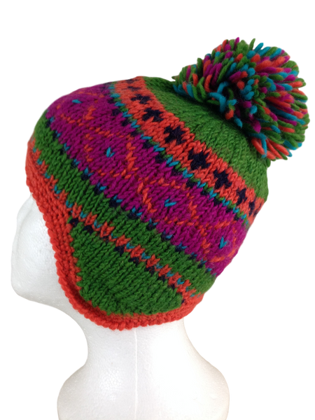 Hand knitted wool hat #H111