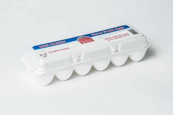 "White Stock Foam Egg Cartons ""Farm Fresh Eggs"" w/ FREE SHIPPING*"