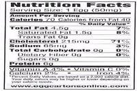 100 Vertical Nutritional Info Labels for Egg Cartons w/ FREE SHIPPING