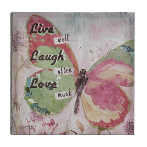Live Laugh Love Butterfly Canvas Wall Art