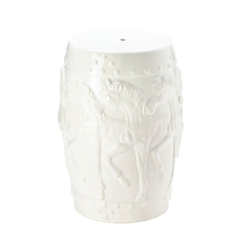 White Horses Ceramic Decorative Stool