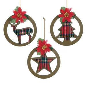 Plaid Silhouette Ornament Set