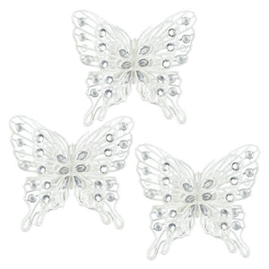 White Gem Butterfly Ornament Set