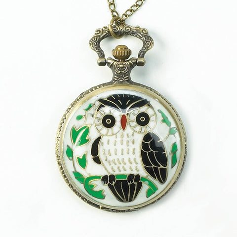 Colorful Owl Necklace Timepiece