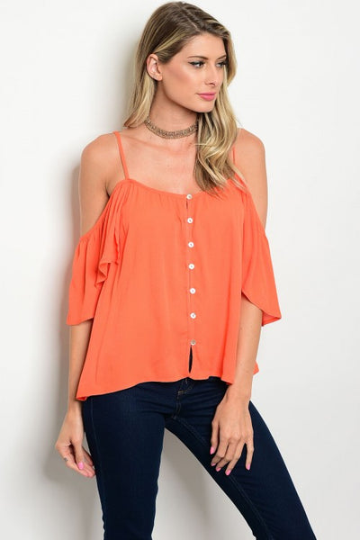 Orange Ruffle Off The Shoulder Top