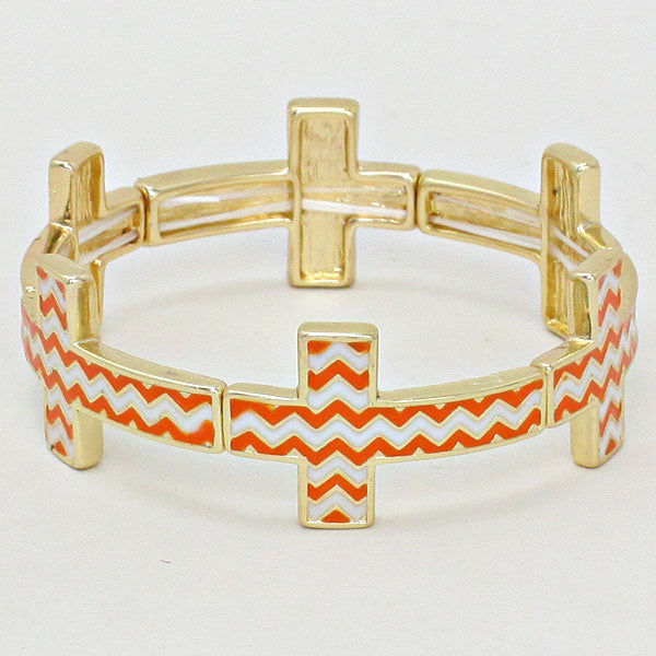 Chevron Cross Stretch Gold Bracelet