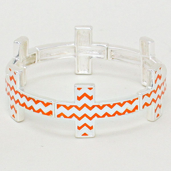 Chevron Cross Stretch Silver Bracelet