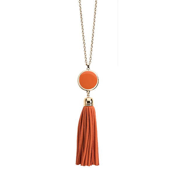Enamel Disk Necklace Orange