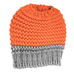 Knitted Bun Hat Orange