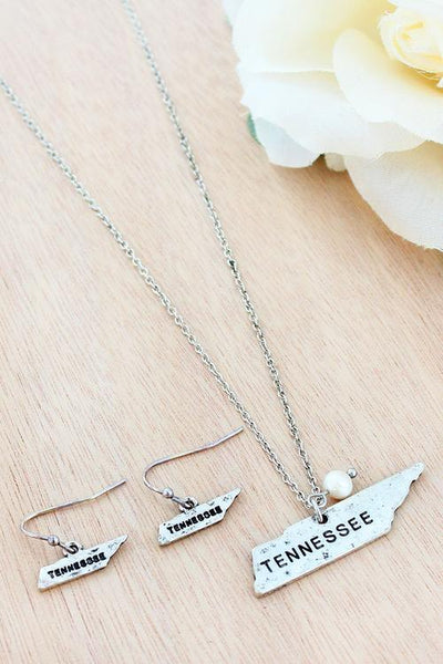 Silvertone Tennessee Necklace and Earring Set
