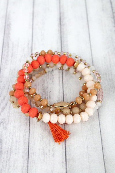 Orange and Tassel Charm Mixed Bead Bracelet Set