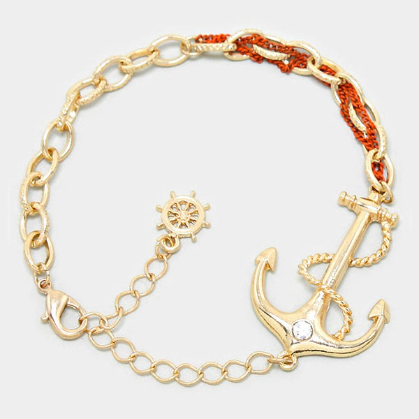 Orange Anchor Bracelet