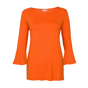 Orange Ruffle Sleeve Tunic