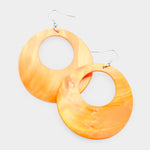 Round Shell Dangle Earrings