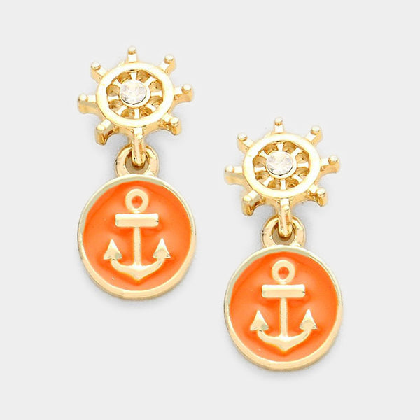 Vol Navy Anchor Earring Set