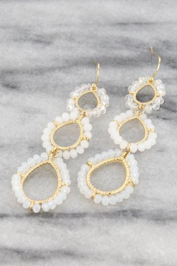 Beaded Goldtone Teardrop Earrings