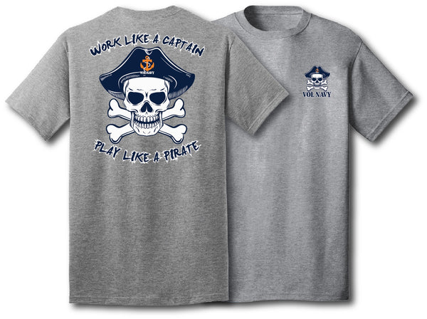 Volly Roger Pirate Gray Shirt