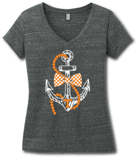 Short Sleeve V-Neck Southern Pearl Anchor