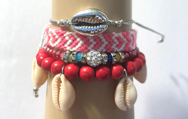 Hanging Conch and Silver Conch Layered Friendship Bracelet set