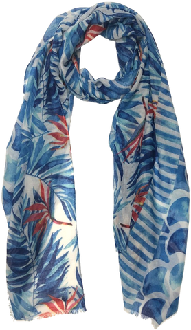 Blue Birds Of Paradise Clouds Scarf