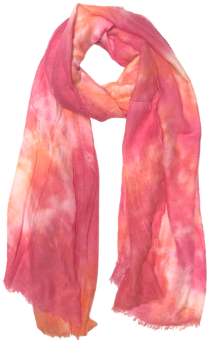 Washed Tie Dye, Frayed Edges Scarf