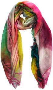 Striped Border Mixed Colors Scarf