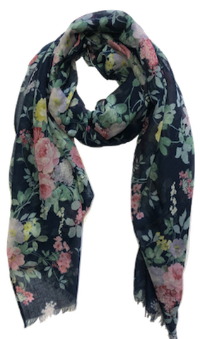 Denim Blue Floral Raw Edge Scarf