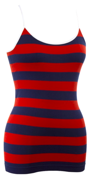 Striped Spaghetti Strap Camisole | Red/Navy and White Trim
