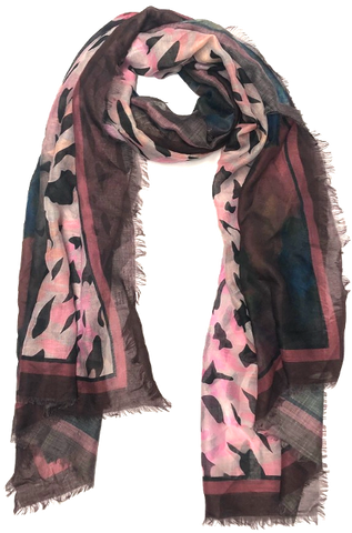 Floral Animal Border Frayed Edge Scarf