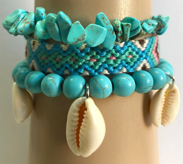 Hanging Conch Shell Layered Friendship Bracelet set