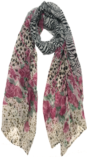 Mixed Animal & Roses Scarf