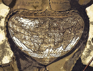 Distressed World Map, Fool's Cap, Antique Design