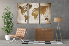World Map Triptych Wall Art