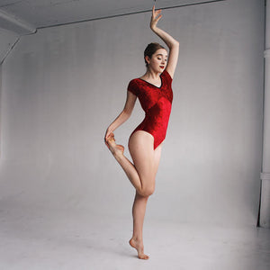 """Chelsea"" Leotard Red Hot Velvet"