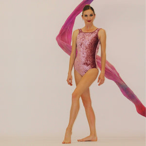 """Classic Luxe"" Leotard in Dusty Rose Velvet"