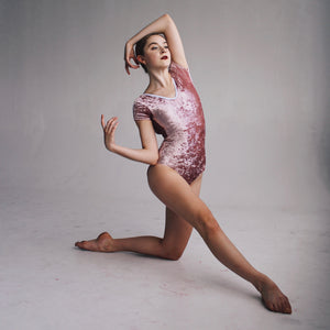 """Chelsea"" Leotard Dusty Rose Velvet"