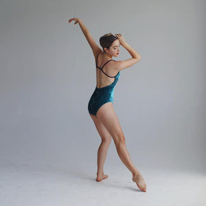 """Queens"" Leotard Sea Green Velvet"