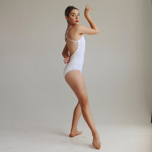 """Queens"" Leotard White Velvet"