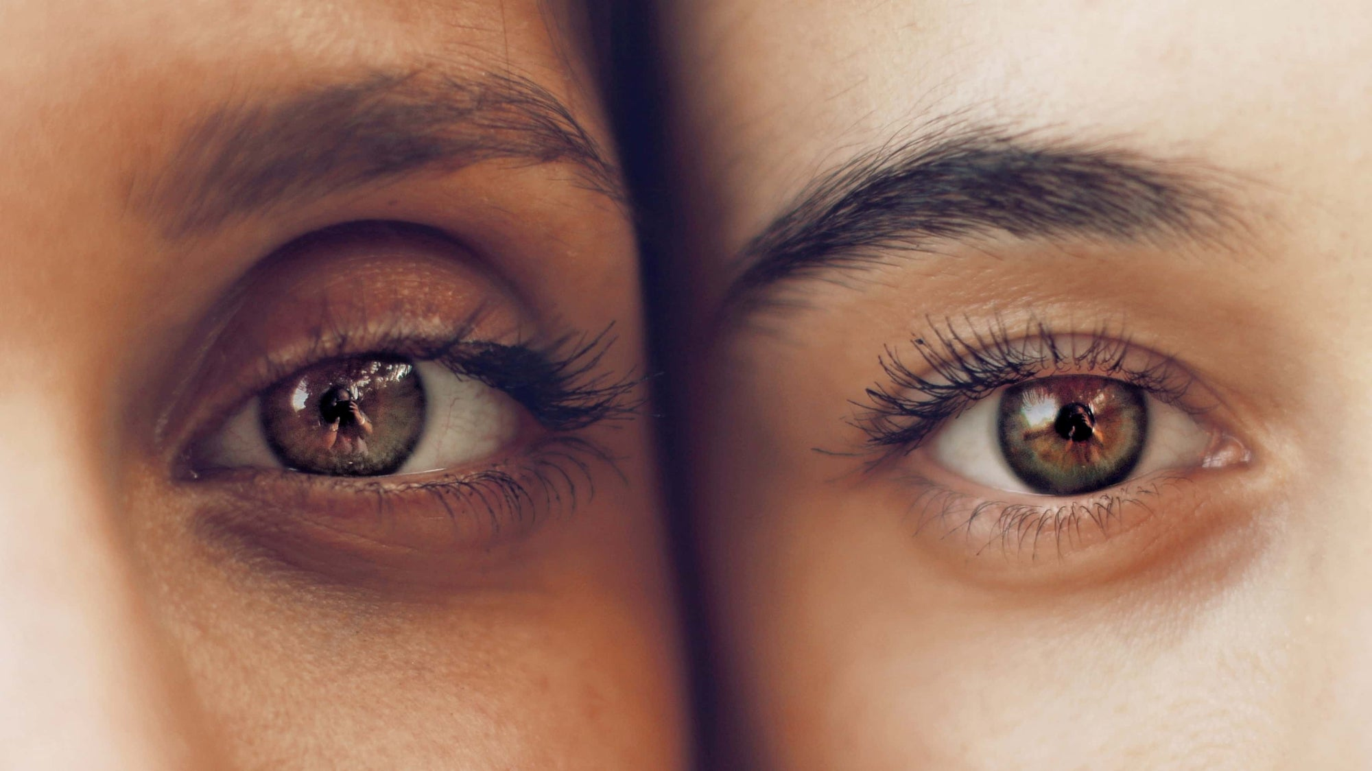 Two womans faces pressed together to show a closeup of their eyes and eyebrows.