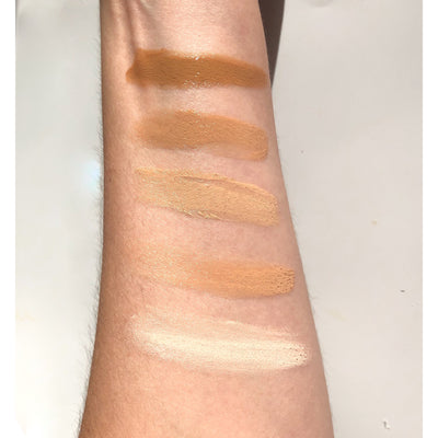 All 5 Suntegrity Impeccable Skin shades on an arm.