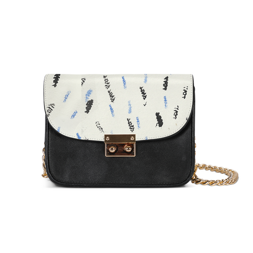 Blue and black feather Small Shoulder Bag