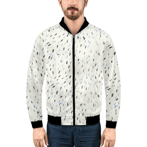 Blue and black feather Men's Bomber Jacket