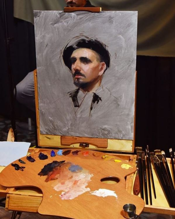 New Wave Handcrafted wooden Expressionist Confidant artist paint palette with paint in the studio of artist Casey Childs