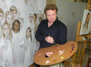 New Wave handcrafted wooden Grand View artist paint palette being held in the studio of artist Igor Babailov