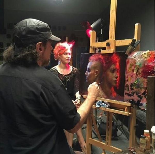 New Wave handcrafted POSH wood table top artist paint palette in use during a Steve Assael oil painting demonstration