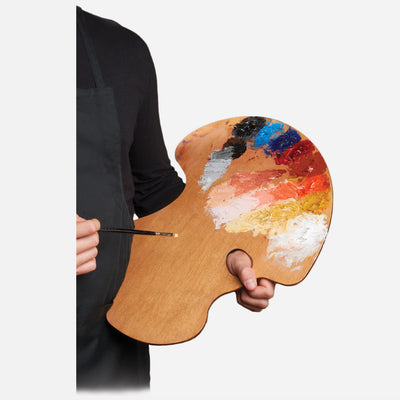 New Wave Handcrafted Maple Wood Expressionist Confidant Ergonomic Hand Held Artist Paint Palette with oil paint being held